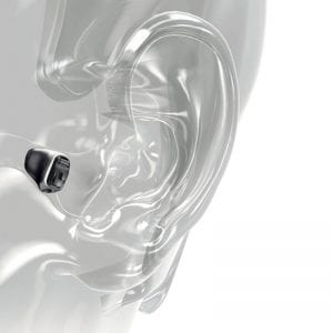 Phonak Virto B Titanium hearing aids inside a persons ear canal