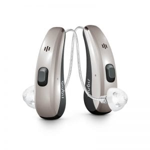 Silver coloured Signia Pure Charge&Go hearing aids