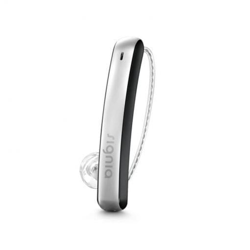 Close-up view of Signia Styletto Connect hearing aids