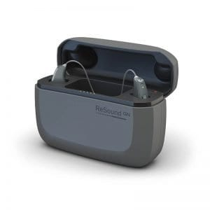 resound linx quattro hearing aids in charger